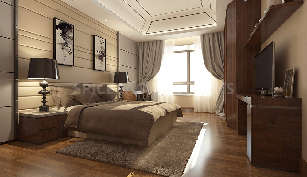 Cream Brown Wood Texture Contemporary Bedroom Style