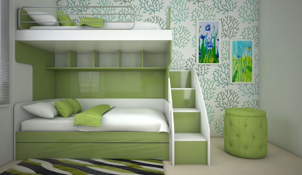 Green White Design Kids  Bed