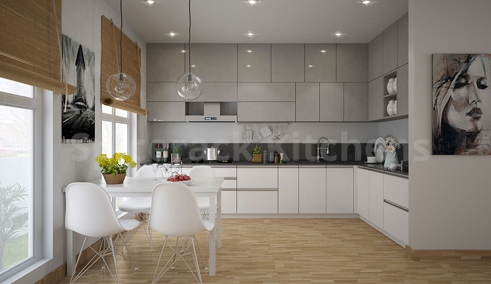 L Shaped White & Brown Kitchen