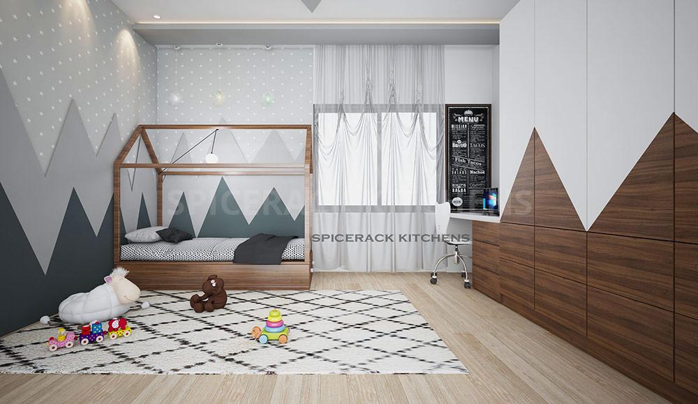 Contemporary Kids Bedroom With Wardrobe