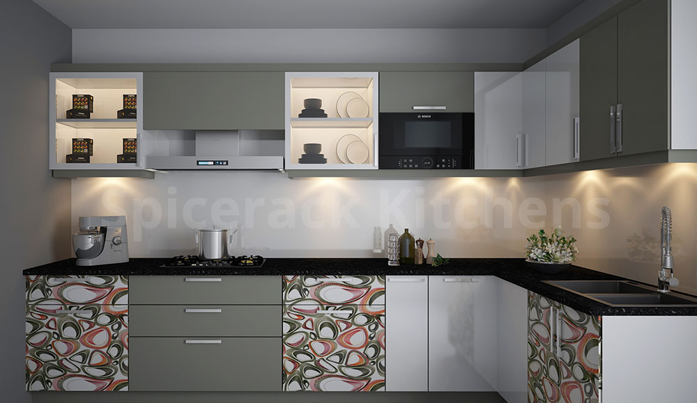 L Shaped Green & Grey Kitchen
