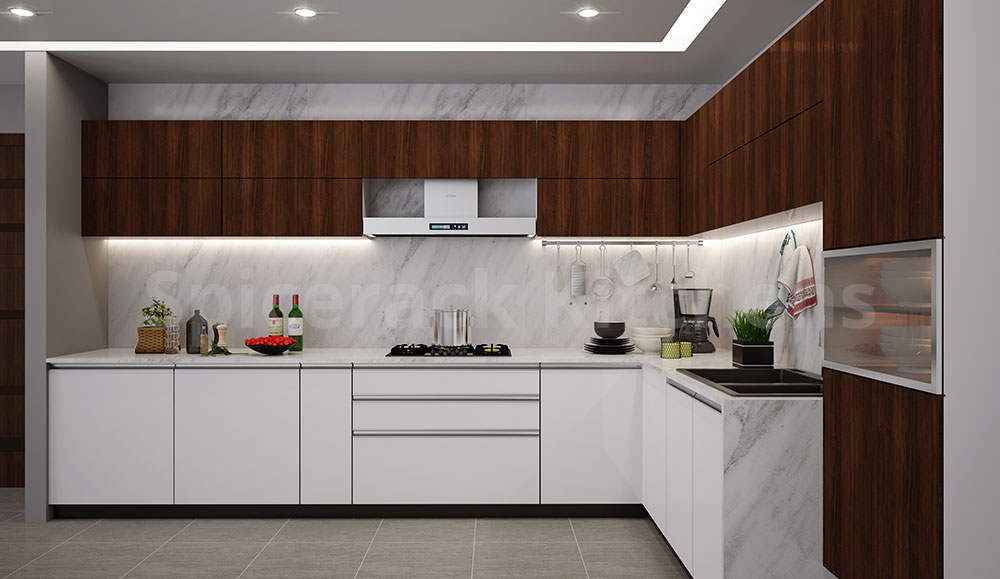 L Shaped White Kitchen