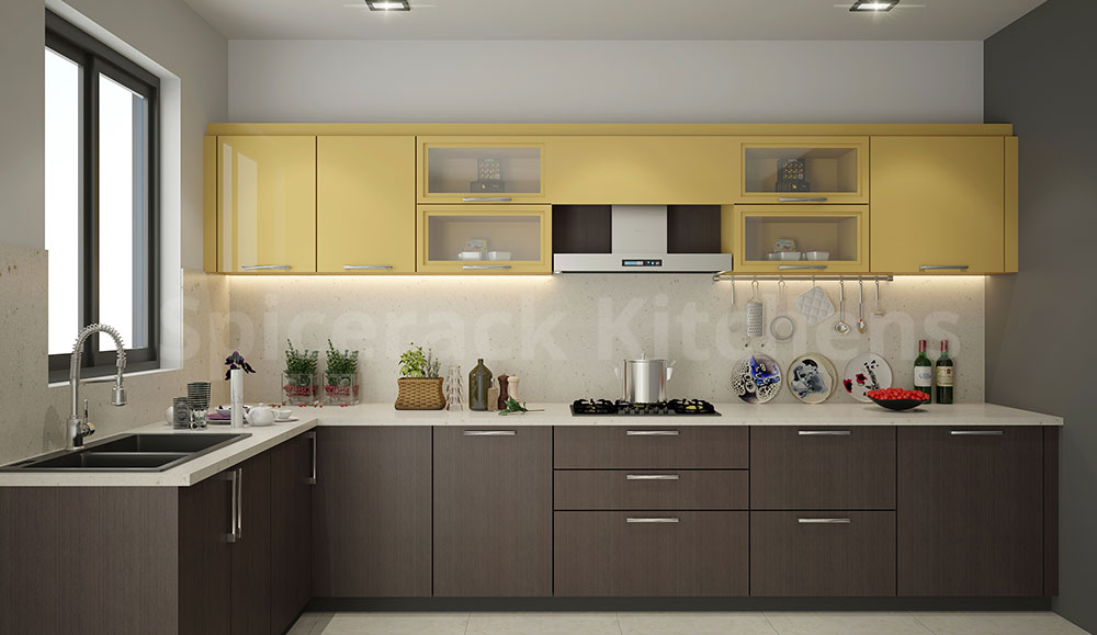 L Shaped Brown & Yellow Kitchen