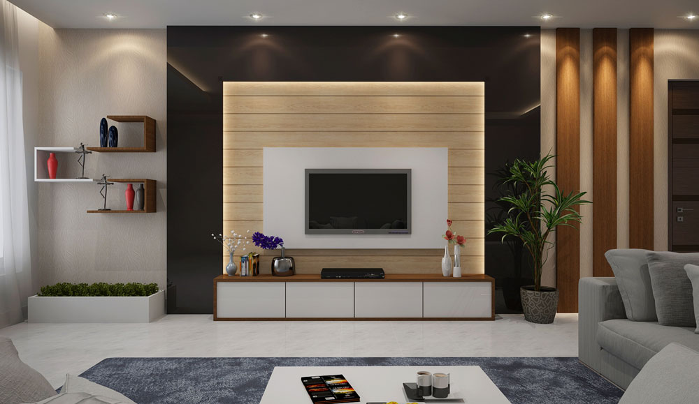 Modern TV Unit and Floating Rack Design