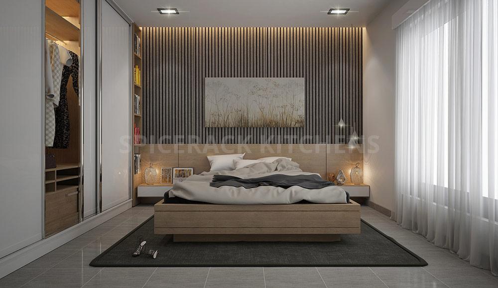 Cosy Bedroom Design With Gloosy Sliding Door Wardrobe