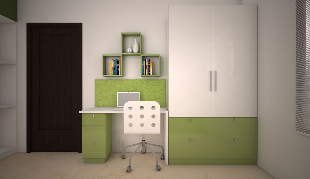 Green White Design Kids Wardrobe