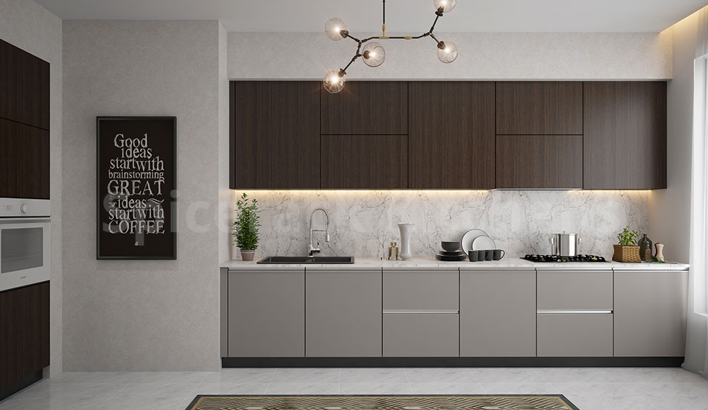 Light Grey & Wood Straight Kitchen