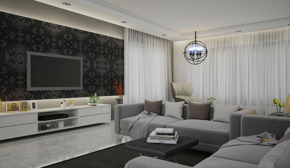 Grey and White Texture TV Unit and Rack Design