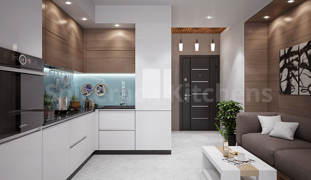 White Small & Straight Kitchen