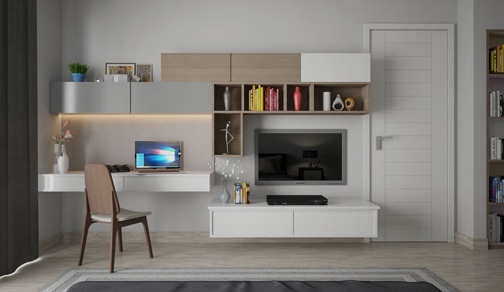 Modern TV Stand with Desk Wall Unit
