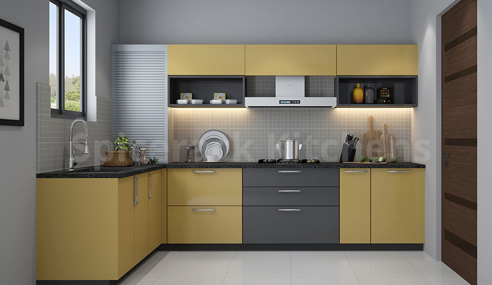L Shaped Grey &Yellow Kitchen