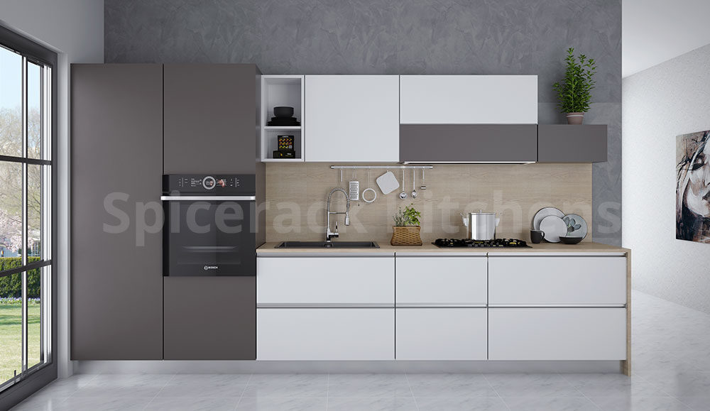White & Grey Straight Kitchen
