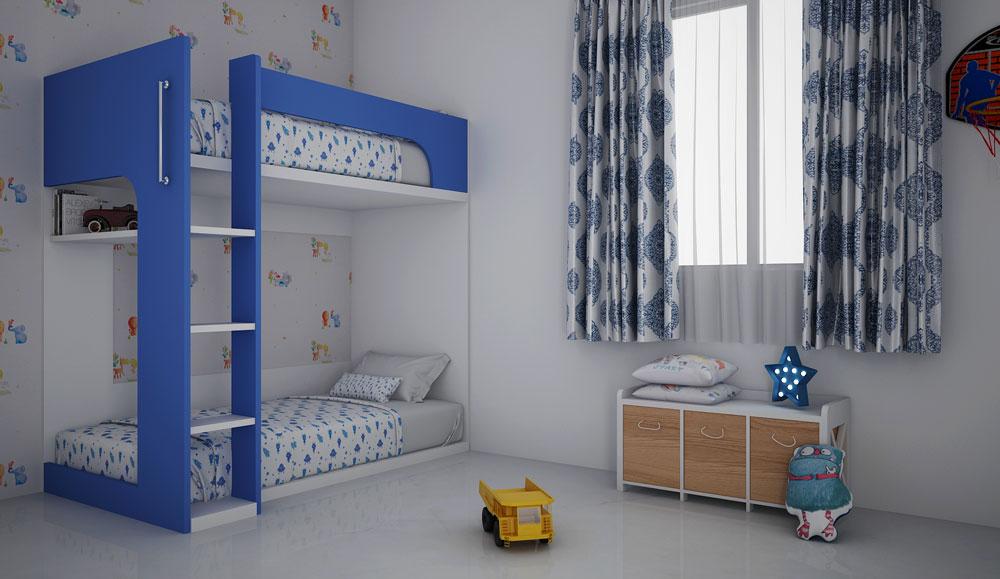 Blue White Design Kids Bed