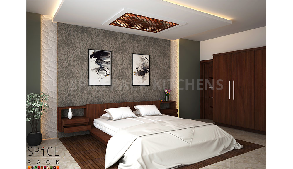 Brown Texture Bed And Wardrobe Design